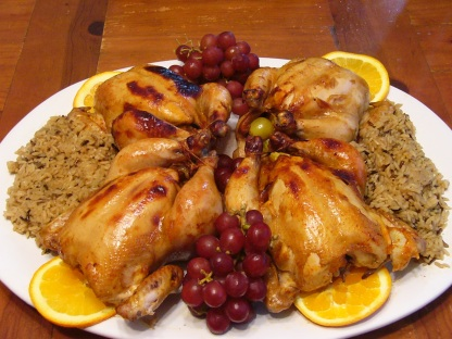 Chicken - Kahlua Game Hens with Wild Rice