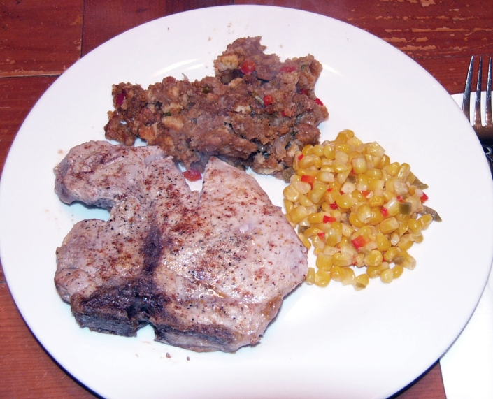 Mexican Pork Chops with Ancho Chile Cornbread Stuffing & Mexican Style Corn 12-17-2012