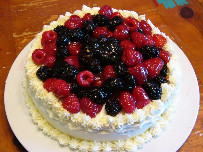 French Vanilla Cake with Blueberry Filling and Fresh Fruit Basket