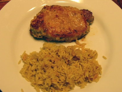 Italian Breaded Pork Chops & Rice Pilaf