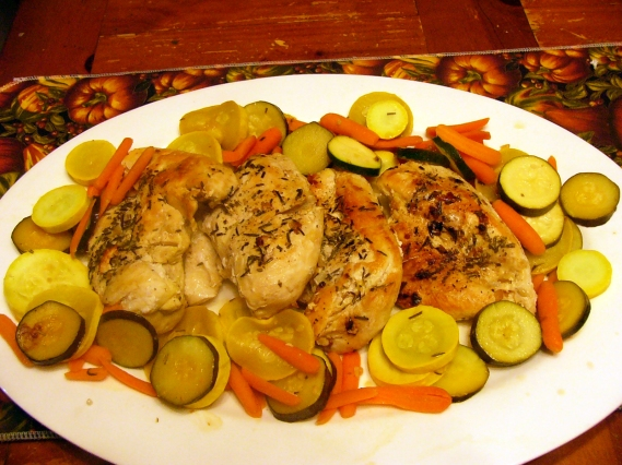 To serve, place breasts on a large serving platter and surround by vegetables. If desired, pour any pan juices over entire dish.