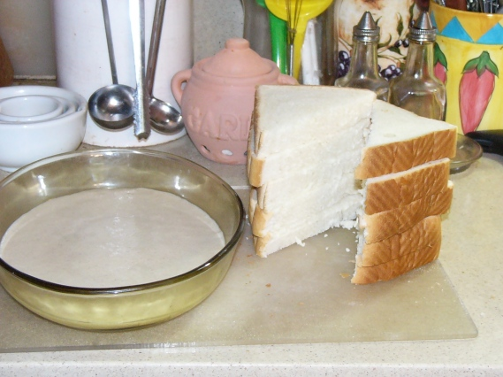 Pour eggnog batter into a shallow bowl. Slice Texas Toast into triangles.