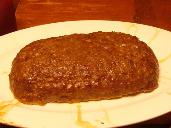 The finished meatloaf is large, heavy and oh so filling - two pounds of meat, about a pound or so stuffing - enough to feed a crowd.