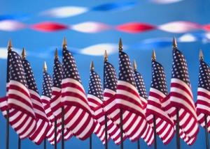 Memorial American flags