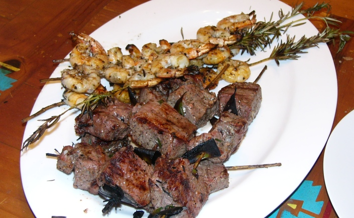Portugues Beef on Rosemary Skewers  & Marinated Shrimp (1)