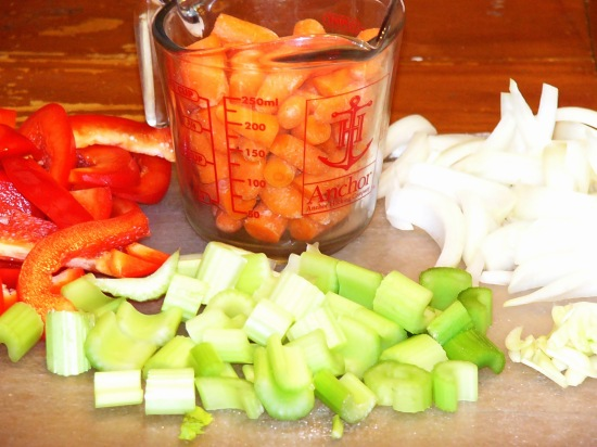 Corsly chop all the vegetables and set them aside until ready to use.
