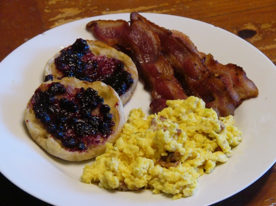 "Serve eggs on a warm plate with your favorite ""sides"" such as breakfast meats and toasted English Muffins."