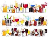 18707593-Set-di-tipi-di-bevande-alcoliche-e-cocktail-birra-martini-bibite-champagne-whisky-vino-cola-cocktail-Archivio-Fotografico