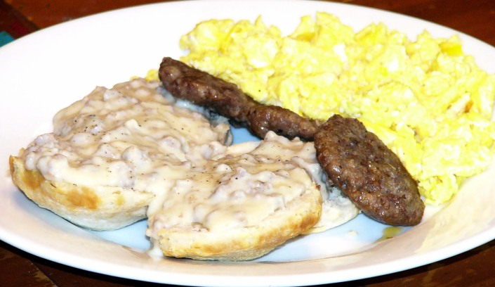 Image result for breakfast with biscuits & gravy, eggs & sausage