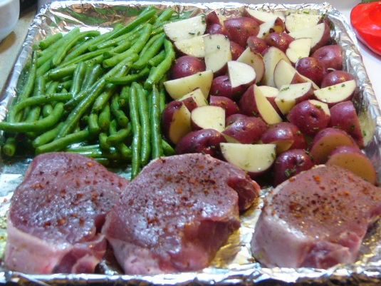Baked Pork Chops and Vegetable One-Pan Supper (2)