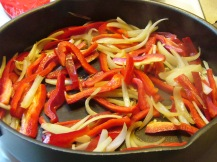Onions, Peppers and Sausage Over Linguine (1)